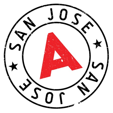 San Jose stamp. Grunge design with dust scratches. Effects can be easily removed for a clean, crisp look. Color is easily changed.
