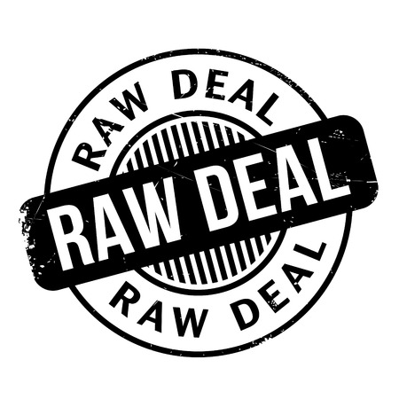 misbehavior: Raw Deal rubber stamp. Grunge design with dust scratches. Effects can be easily removed for a clean, crisp look. Color is easily changed. Illustration