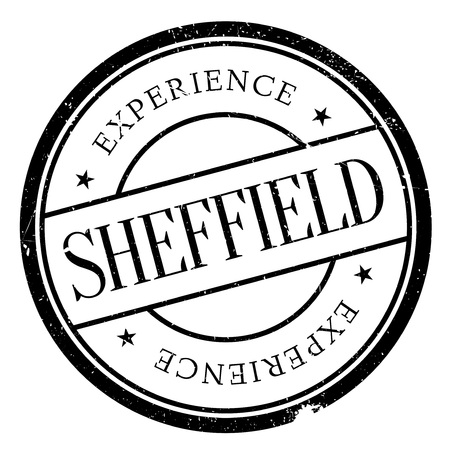 english culture: Sheffield stamp. Grunge design with dust scratches. Effects can be easily removed for a clean, crisp look. Color is easily changed.