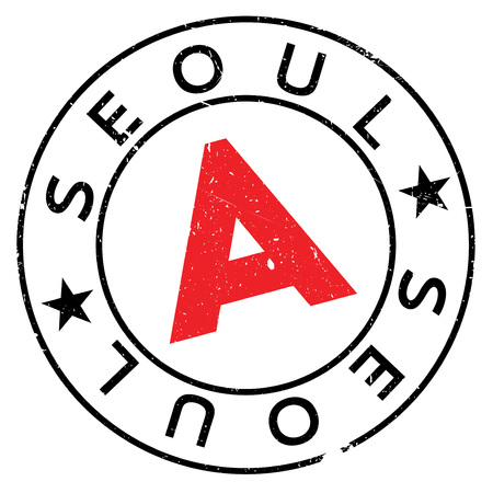 Seoul stamp. Grunge design with dust scratches. Effects can be easily removed for a clean, crisp look. Color is easily changed.