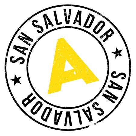 bandera de el salvador: Sello de San Salvador. Diseño de grunge con rasguños de polvo. Los efectos se pueden quitar fácilmente para un aspecto limpio y nítido. El color se cambia fácilmente.
