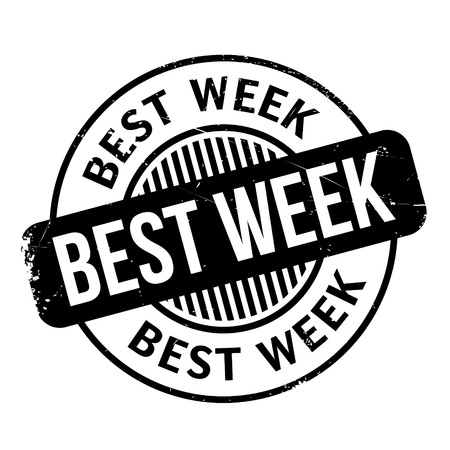 fully: Best Week rubber stamp. Grunge design with dust scratches. Effects can be easily removed for a clean, crisp look. Color is easily changed.