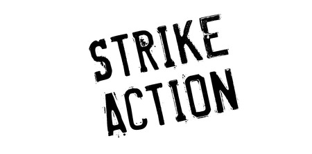 trade union: Strike Action rubber stamp. Grunge design with dust scratches. Effects can be easily removed for a clean, crisp look. Color is easily changed.