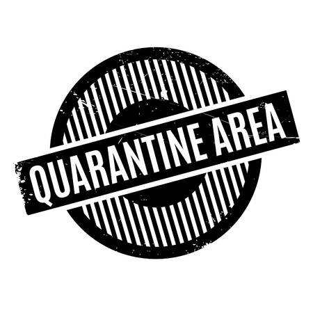 influenza: Quarantine Area rubber stamp. Grunge design with dust scratches. Effects can be easily removed for a clean, crisp look. Color is easily changed. Illustration
