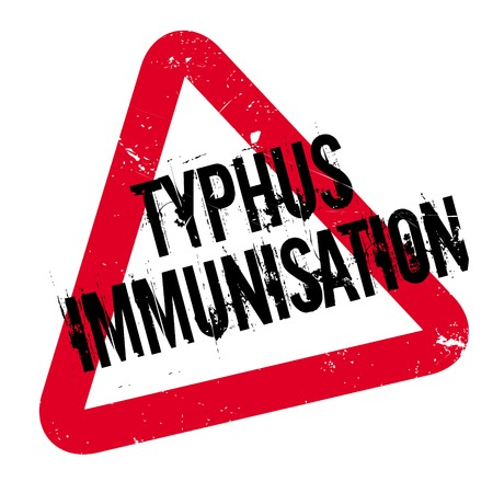 Typhus Immunisation rubber stamp. Grunge design with dust scratches. Effects can be easily removed for a clean, crisp look. Color is easily changed. Illustration