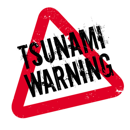 gale: Tsunami Warning rubber stamp. Grunge design with dust scratches. Effects can be easily removed for a clean, crisp look. Color is easily changed. Illustration
