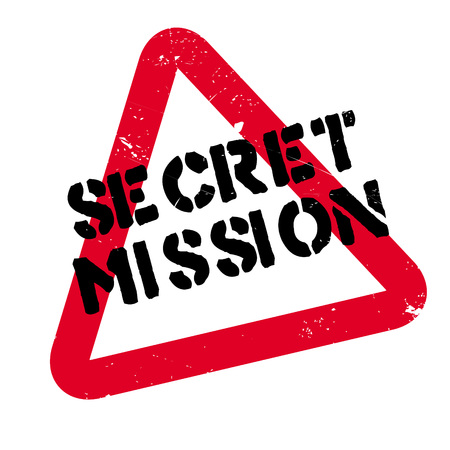 spying: Secret Mission rubber stamp. Grunge design with dust scratches. Effects can be easily removed for a clean, crisp look. Color is easily changed.