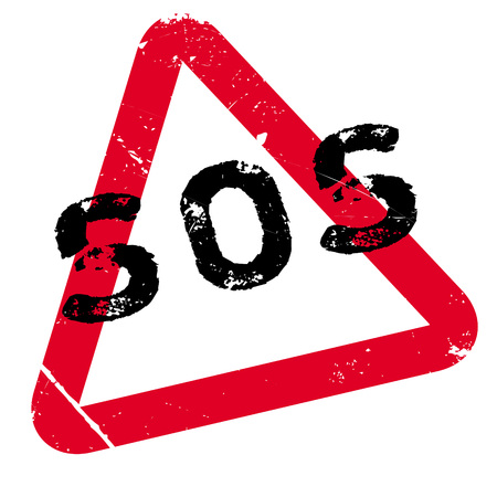 Sos rubber stamp. Grunge design with dust scratches. Effects can be easily removed for a clean, crisp look. Color is easily changed. Illustration