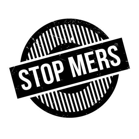 the bacteria signal: Stop Mers rubber stamp. Grunge design with dust scratches. Effects can be easily removed for a clean, crisp look. Color is easily changed.