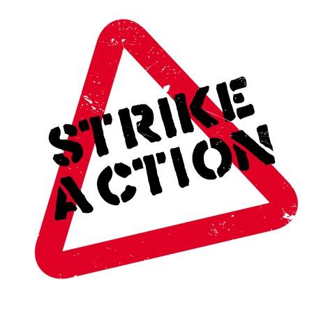 Strike Action Stempel. Grunge-Design mit Staub Kratzern. Effekte können leicht für einen sauberen, klaren Look entfernt werden. Farbe wird leicht gewechselt. Illustration