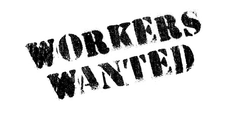 wage earner: Workers Wanted rubber stamp. Grunge design with dust scratches. Effects can be easily removed for a clean, crisp look. Color is easily changed.