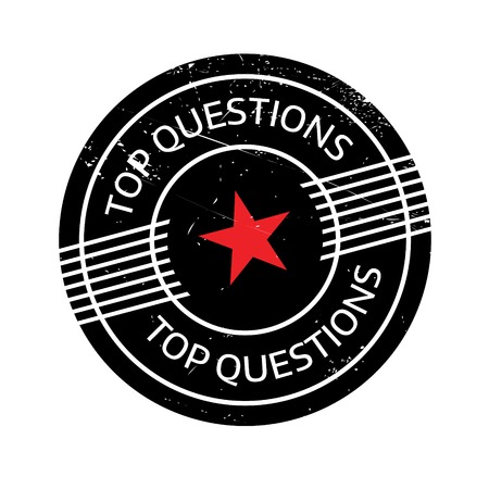 interrogatory: Top Questions rubber stamp. Grunge design with dust scratches. Effects can be easily removed for a clean, crisp look. Color is easily changed. Stock Photo
