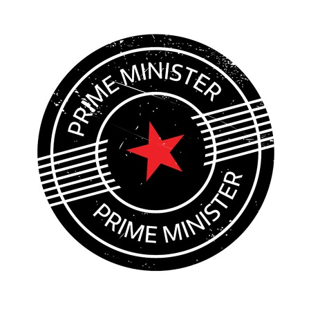Prime Minister rubber stamp. Grunge design with dust scratches. Effects can be easily removed for a clean, crisp look. Color is easily changed.
