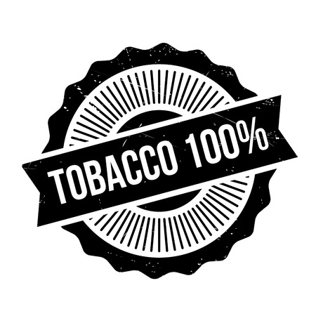 Tobacco 100 rubber stamp. Grunge design with dust scratches. Effects can be easily removed for a clean, crisp look. Color is easily changed. Illustration