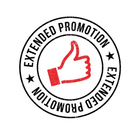 Extended Promotion rubber stamp. Grunge design with dust scratches. Effects can be easily removed for a clean, crisp look. Color is easily changed.
