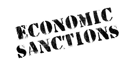 budgetary: Economic Sanctions rubber stamp. Grunge design with dust scratches. Effects can be easily removed for a clean, crisp look. Color is easily changed. Illustration