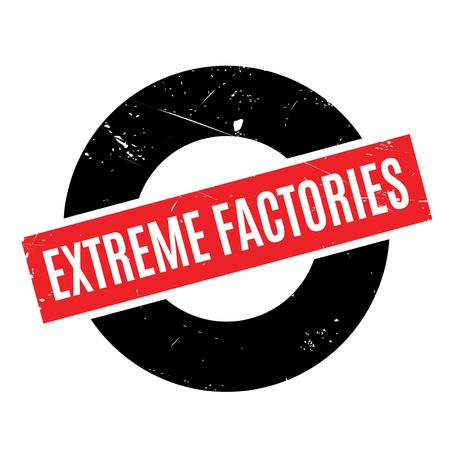 Extreme Factories rubber stamp. Grunge design with dust scratches. Effects can be easily removed for a clean, crisp look. Color is easily changed. Ilustração