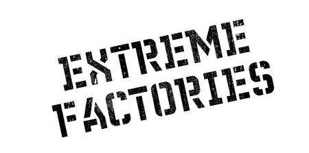 Extreme Factories rubber stamp. Grunge design with dust scratches. Effects can be easily removed for a clean, crisp look. Color is easily changed. Stock Photo