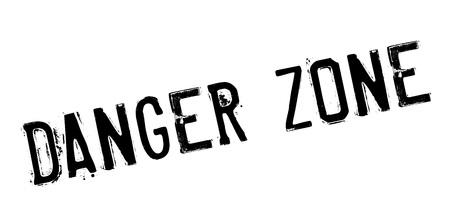 Danger Zone rubberstempel. Grungeontwerp met stofkrassen. Effecten kunnen eenvoudig worden verwijderd voor een schone, heldere look. Kleur is gemakkelijk te veranderen.