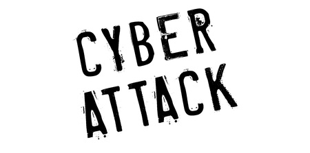 Cyber Attack rubber stamp. Grunge design with dust scratches. Effects can be easily removed for a clean, crisp look. Color is easily changed. Vektorové ilustrace