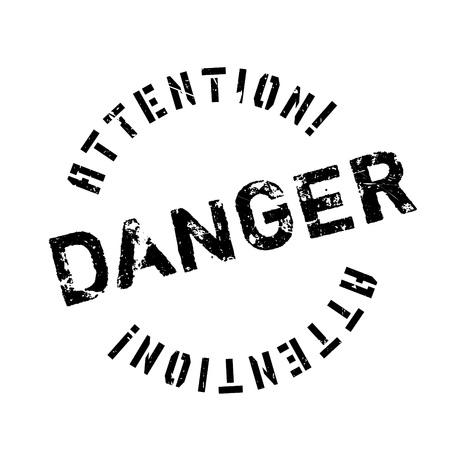 Sello de goma de peligro. Diseño de Grunge con los rasguños polvo. Los efectos se pueden quitar fácilmente para una apariencia limpia y nítida. En color se cambia fácilmente. Ilustración de vector