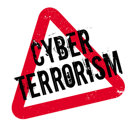 Cyber Terrorism rubber stamp. Grunge design with dust scratches. Effects can be easily removed for a clean, crisp look. Color is easily changed. Illustration
