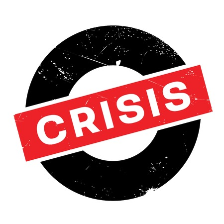 Crisis rubber stamp. Grunge design with dust scratches. Effects can be easily removed for a clean, crisp look. Color is easily changed. Illustration