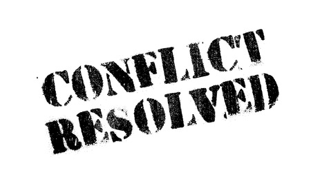 Conflict Resolved rubber stamp. Grunge design with dust scratches. Effects can be easily removed for a clean, crisp look. Color is easily changed.