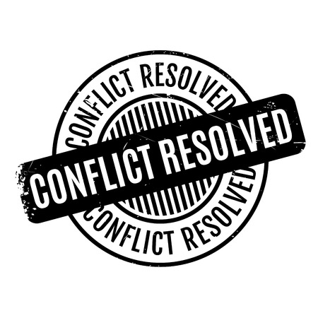 Conflict Resolved rubber stamp. Grunge design with dust scratches. Effects can be easily removed for a clean, crisp look. Color is easily changed. Vetores