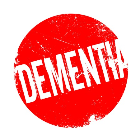 Dementia rubber stamp. Grunge design with dust scratches. Effects can be easily removed for a clean, crisp look. Color is easily changed.