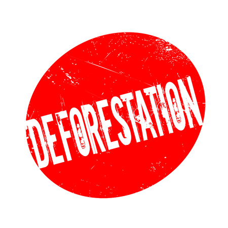 deforestacion: Deforestation rubber stamp. Grunge design with dust scratches. Effects can be easily removed for a clean, crisp look. Color is easily changed. Vectores