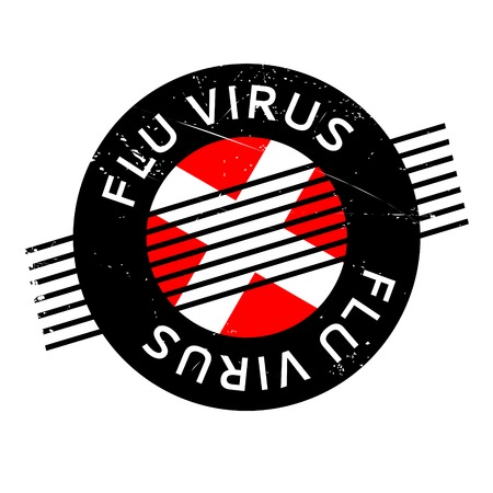 Flu Virus rubber stamp. Grunge design with dust scratches. Effects can be easily removed for a clean, crisp look. Color is easily changed. Illustration