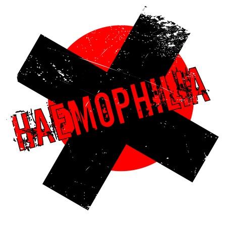 hemorragias: Sello de goma de la hemofilia. Diseño de Grunge con los rasguños polvo. Los efectos se pueden quitar fácilmente para una apariencia limpia y nítida. En color se cambia fácilmente. Vectores