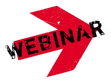 Webinar stamp. Grunge design with dust scratches. Effects can be easily removed for a clean, crisp look. Color is easily changed.