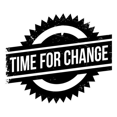 transmutation: Time for change stamp. Grunge design with dust scratches. Effects can be easily removed for a clean, crisp look. Color is easily changed. Illustration