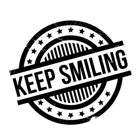 busting: Keep Smiling rubber stamp. Grunge design with dust scratches. Effects can be easily removed for a clean, crisp look. Color is easily changed.