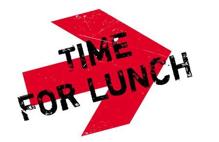 Zeit für das Mittagessen Stempel. Grunge-Design mit Staub Kratzer. Effekte können für ein sauberes, klares Aussehen leicht entfernt werden. Die Farbe wird leicht geändert.