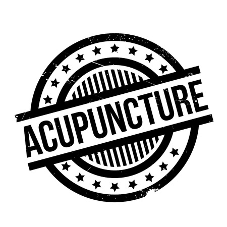 Acupuncture rubber stamp. Grunge design with dust scratches. Effects can be easily removed for a clean, crisp look. Color is easily changed. Illustration