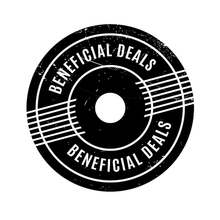 favorable: Beneficial Deals rubber stamp. Grunge design with dust scratches. Effects can be easily removed for a clean, crisp look. Color is easily changed. Illustration
