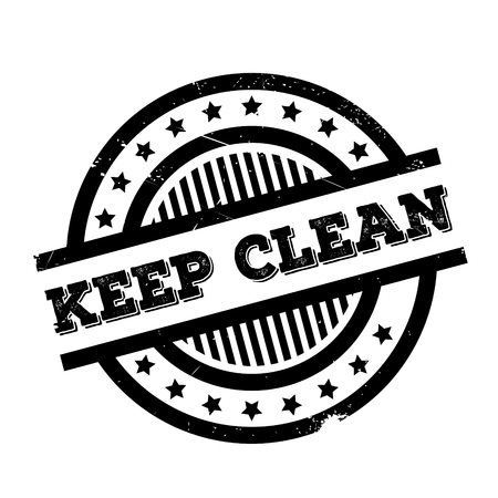 Keep Clean rubber stamp. Grunge design with dust scratches. Effects can be easily removed for a clean, crisp look. Color is easily changed.