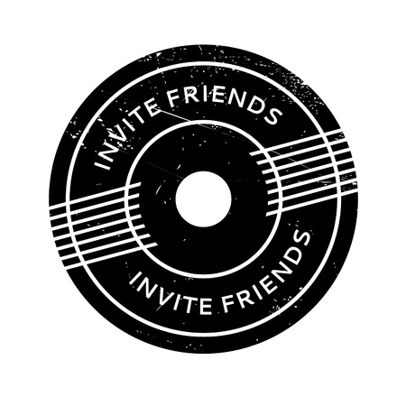 Invite Friends rubber stamp. Grunge design with dust scratches. Effects can be easily removed for a clean, crisp look. Color is easily changed. Stock Vector - 73886719