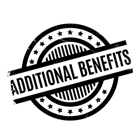 Additional Benefits rubber stamp. Grunge design with dust scratches. Effects can be easily removed for a clean, crisp look. Color is easily changed.
