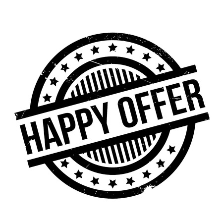 Happy Offer rubber stamp. Grunge design with dust scratches. Effects can be easily removed for a clean, crisp look. Color is easily changed. Illustration