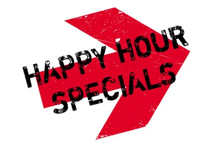 Happy hour specials stamp. Grunge design with dust scratches. Effects can be easily removed for a clean, crisp look. Color is easily changed.