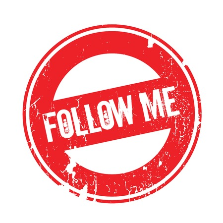 Follow Me rubber stamp. Grunge design with dust scratches. Effects can be easily removed for a clean, crisp look. Color is easily changed. Illustration