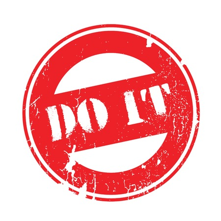accomplish: Do It rubber stamp. Grunge design with dust scratches. Effects can be easily removed for a clean, crisp look. Color is easily changed. Illustration