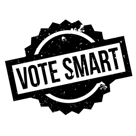 whiz: Vote Smart rubber stamp. Grunge design with dust scratches. Effects can be easily removed for a clean, crisp look. Color is easily changed. Illustration