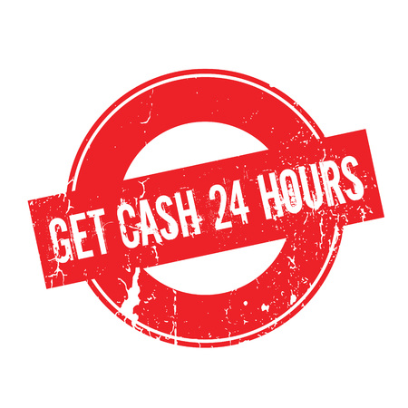 Get Cash 24 Hours rubber stamp. Grunge design with dust scratches. Effects can be easily removed for a clean, crisp look. Color is easily changed. Illustration