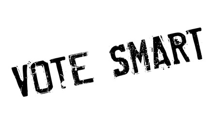 Vote Smart rubber stamp. Grunge design with dust scratches. Effects can be easily removed for a clean, crisp look. Color is easily changed. Ilustração