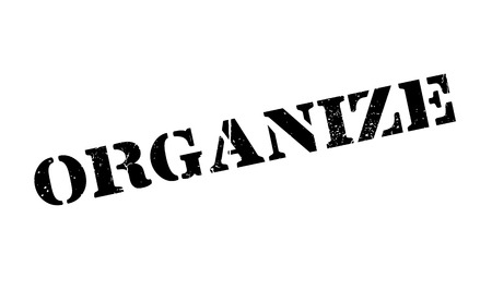 Organize rubber stamp. Grunge design with dust scratches. Effects can be easily removed for a clean, crisp look. Color is easily changed. Stock Vector - 74059957